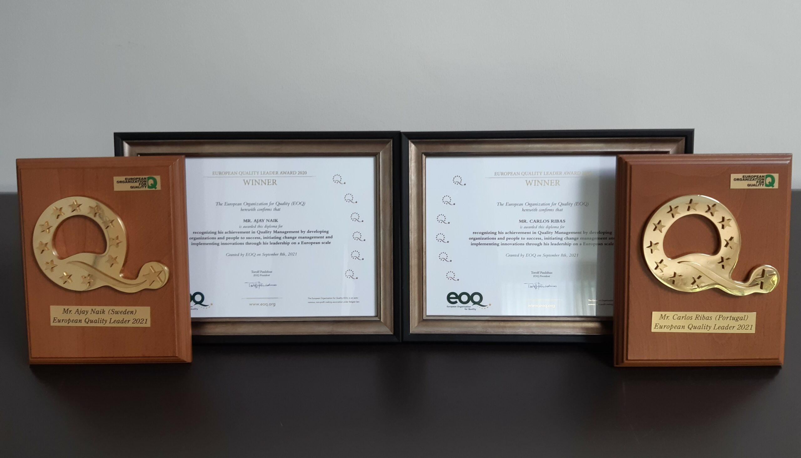PRESS RELEASE – Mr. Ribas and Mr. Naik, winners of the  2020 EOQ European Leader Award
