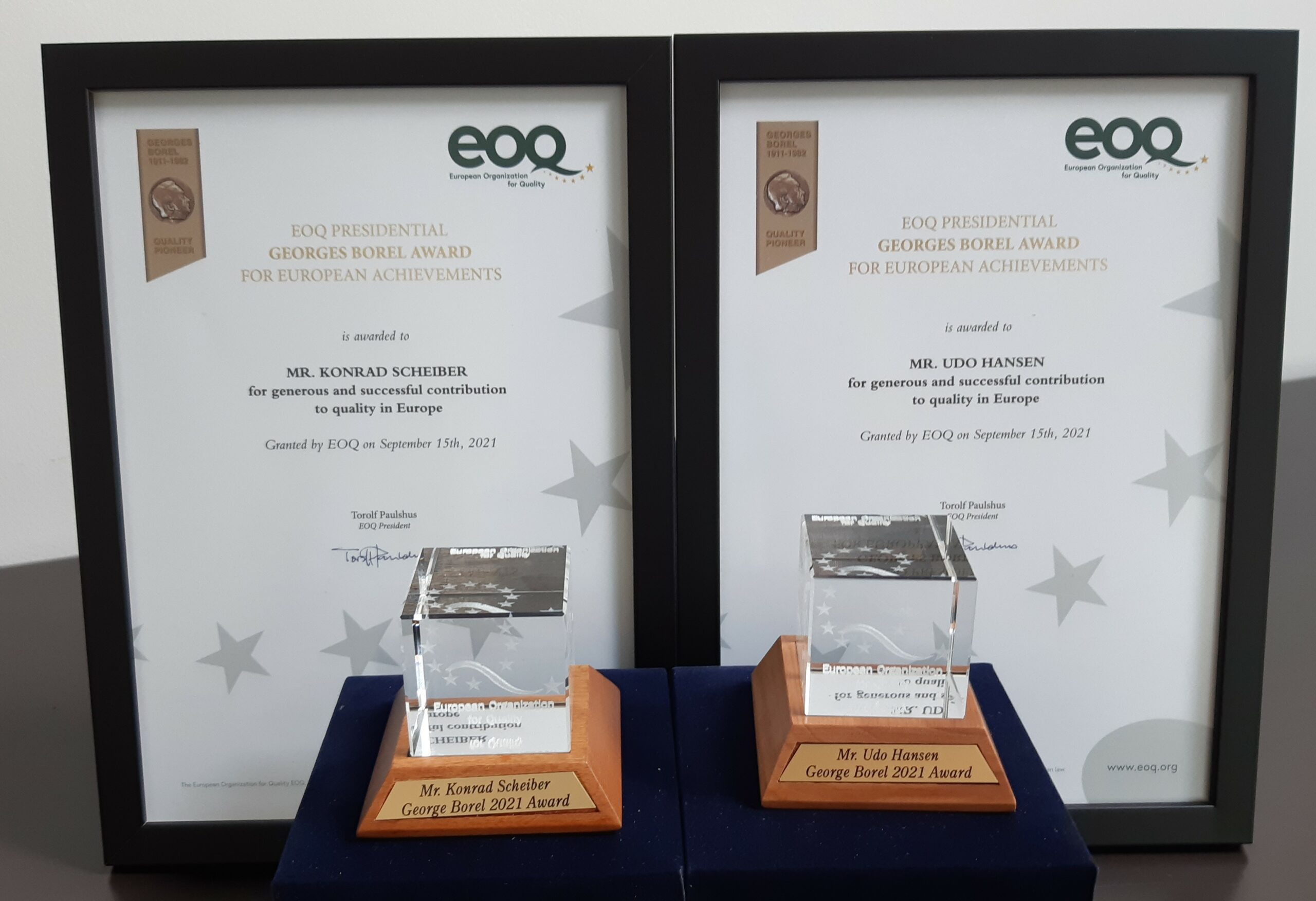 PRESS RELEASE – EOQ Presidential Georges Borel Awarding 2021